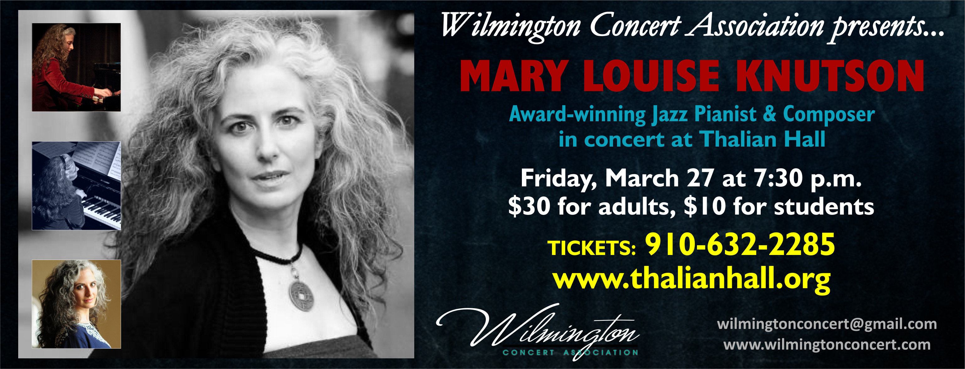 Jazz Pianist Mary Louise Knutson in Concert at Thalian Hall